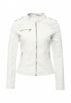 Куртка кожаная, Softy, цвет: белый. Артикул: SO017EWROZ37. Женская одежда / Верхняя одежда / Кожаные куртки