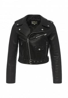 Куртка кожаная, Softy, цвет: черный. Артикул: SO017EWROZ54. Женская одежда / Верхняя одежда / Кожаные куртки