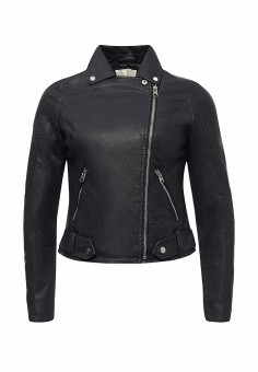 Куртка кожаная, Springfield, цвет: синий. Артикул: SP014EWRKX87. Женская одежда / Верхняя одежда / Косухи