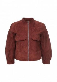 Куртка кожаная, Sportmax Code, цвет: коричневый. Артикул: SP027EWORD18. Женская одежда / Верхняя одежда / Кожаные куртки