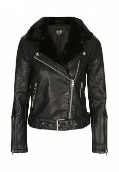 Куртка кожаная, Topshop, цвет: черный. Артикул: TO029EWNKC43. Женская одежда / Верхняя одежда / Кожаные куртки
