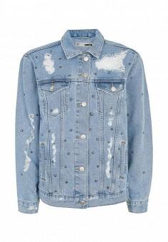 Куртка джинсовая, Topshop, цвет: голубой. Артикул: TO029EWRMD12. Женская одежда / Тренды сезона / Летний деним / Джинсовые куртки