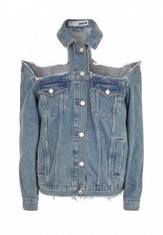 Куртка джинсовая, Topshop, цвет: голубой. Артикул: TO029EWSCO87. Женская одежда / Верхняя одежда / Джинсовые куртки