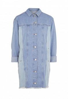 Куртка джинсовая, Topshop, цвет: голубой. Артикул: TO029EWSCO88. Женская одежда / Тренды сезона / Летний деним / Джинсовые куртки