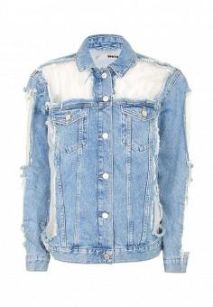 Куртка джинсовая, Topshop, цвет: голубой. Артикул: TO029EWSIO81. Женская одежда / Тренды сезона / Летний деним / Джинсовые куртки