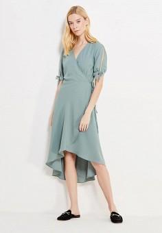 Платье, Topshop, цвет: зеленый. Артикул: TO029EWVHP13. Женская одежда / Платья и сарафаны / Повседневные платья / Платья с запахом