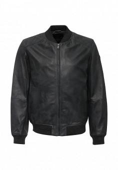 Куртка кожаная, Trussardi Jeans, цвет: серый. Артикул: TR016EMJOH63. Мужская одежда / Верхняя одежда / Кожаные куртки