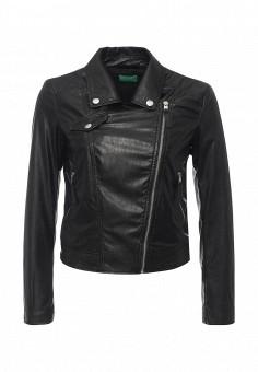 Куртка кожаная, United Colors of Benetton, цвет: черный. Артикул: UN012EWPIL08. Женская одежда / Верхняя одежда / Косухи