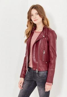 Куртка кожаная, Vero Moda, цвет: бордовый. Артикул: VE389EWUJN52. Женская одежда / Верхняя одежда / Косухи