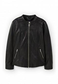 Куртка кожаная, Violeta by Mango, цвет: черный. Артикул: VI005EWOGJ72. Женская одежда / Верхняя одежда / Кожаные куртки