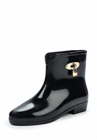Резиновые полусапоги Ideal Shoes черный ID005AWPSL67 Китай  - купить со скидкой