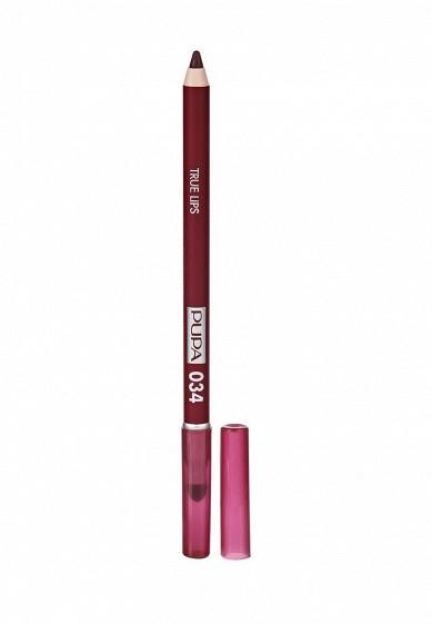 Купить Карандаш для губ Pupa TRUE LIPS, тон 034 Красный сливовый бордовый PU006LWYWW81 Италия