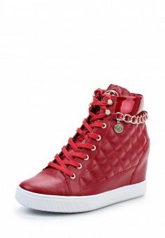 Кеды на танкетке, Guess, цвет: красный. Артикул: GU460AWWVW43. Женская обувь / Кроссовки и кеды / Кеды