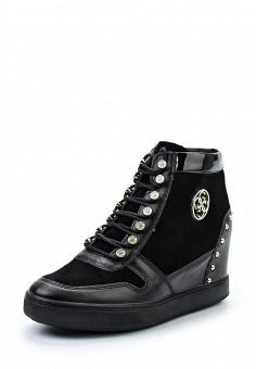 Кеды на танкетке, Guess, цвет: черный. Артикул: GU460AWWVW46. Женская обувь / Кроссовки и кеды / Кеды
