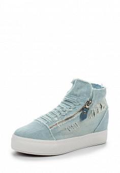 Кеды на танкетке, Ideal Shoes, цвет: голубой. Артикул: ID005AWSBE42. Женская обувь / Кроссовки и кеды