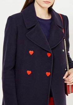 Пальто, Love Moschino, цвет: синий. Артикул: LO416EWUKW52. Премиум / Одежда / Верхняя одежда