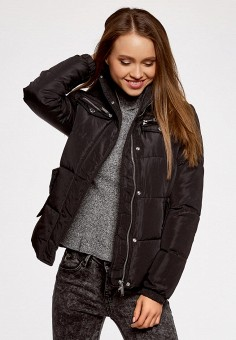 Куртка утепленная, oodji, цвет: черный. Артикул: OO001EWLSB26. Женская одежда / Верхняя одежда / Пуховики и зимние куртки