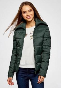 Куртка утепленная, oodji, цвет: зеленый. Артикул: OO001EWZJG38. Женская одежда / Верхняя одежда / Пуховики и зимние куртки