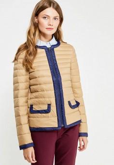 Пуховик, United Colors of Benetton, цвет: бежевый. Артикул: UN012EWVXJ61. Женская одежда / Верхняя одежда / Пуховики и зимние куртки
