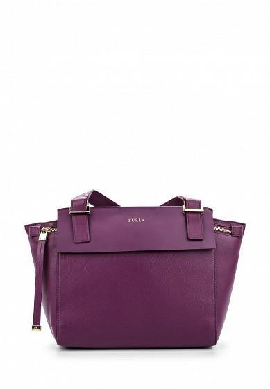 Фиолетовая кожаная сумка с короткими ручками Furla Giada